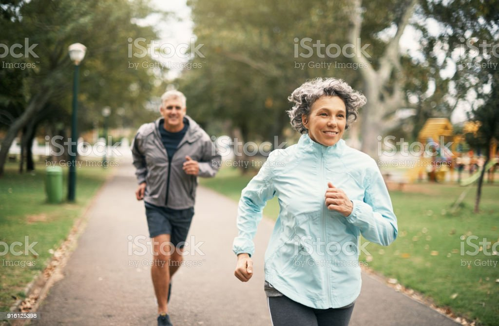 Fitness is an important part of their marriage stock photo