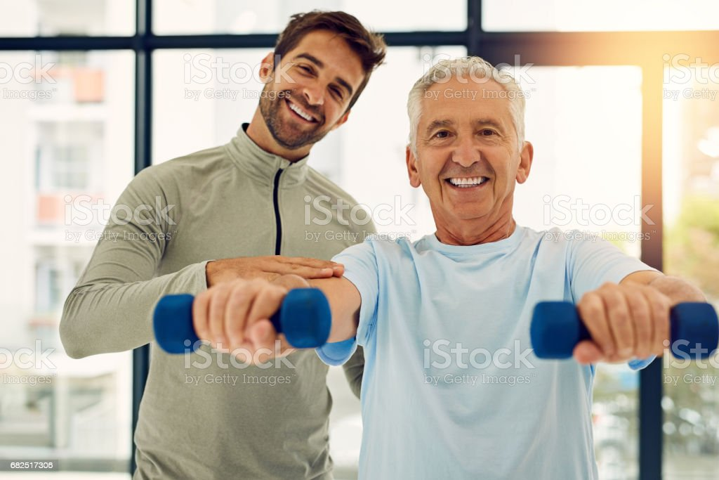 Fitness ist einfach, wenn man die richtige Hilfe Lizenzfreies stock-foto