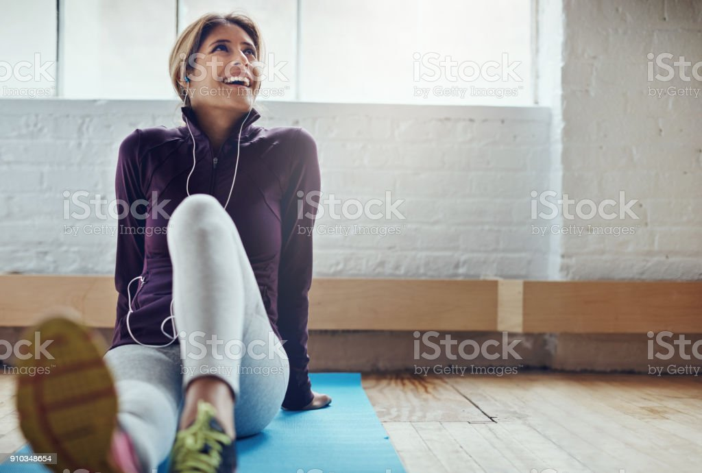 Fitness keeps her glowing stock photo