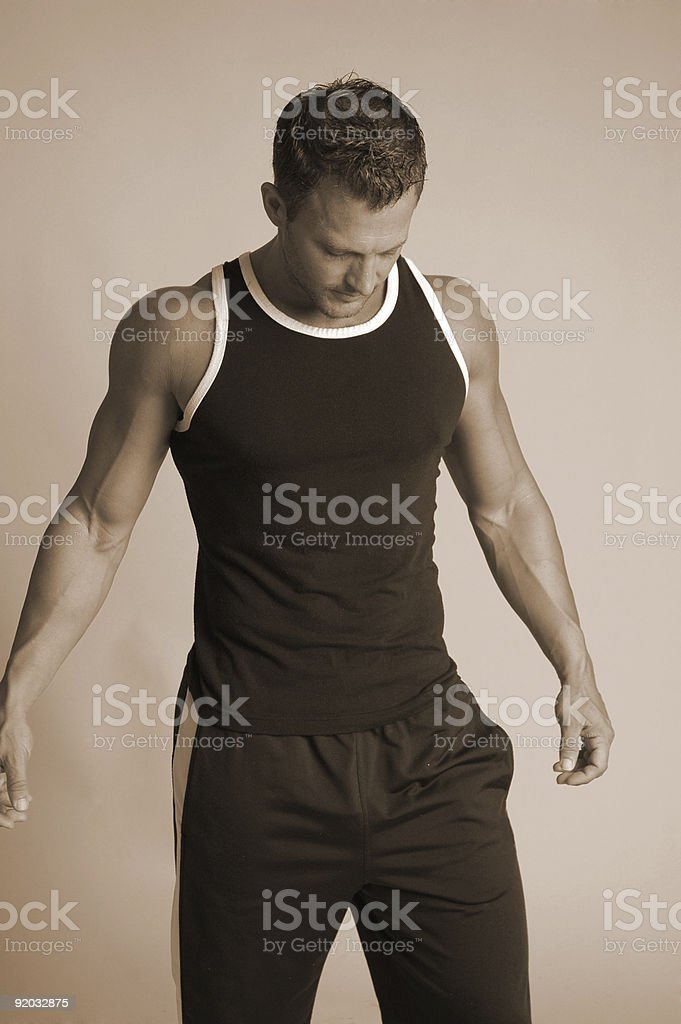 fitness male in black stock photo