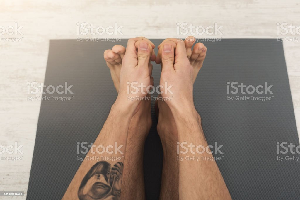 Fitness man at stretching training royalty-free stock photo