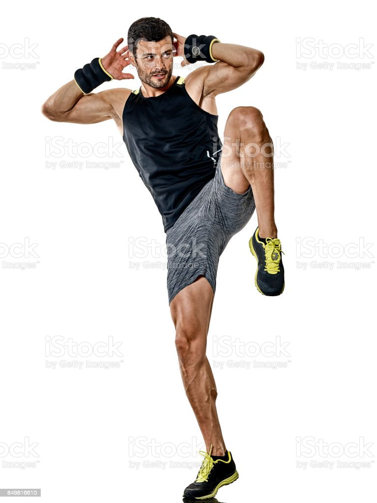 fitness man cardio boxing exercises isolated stock photo