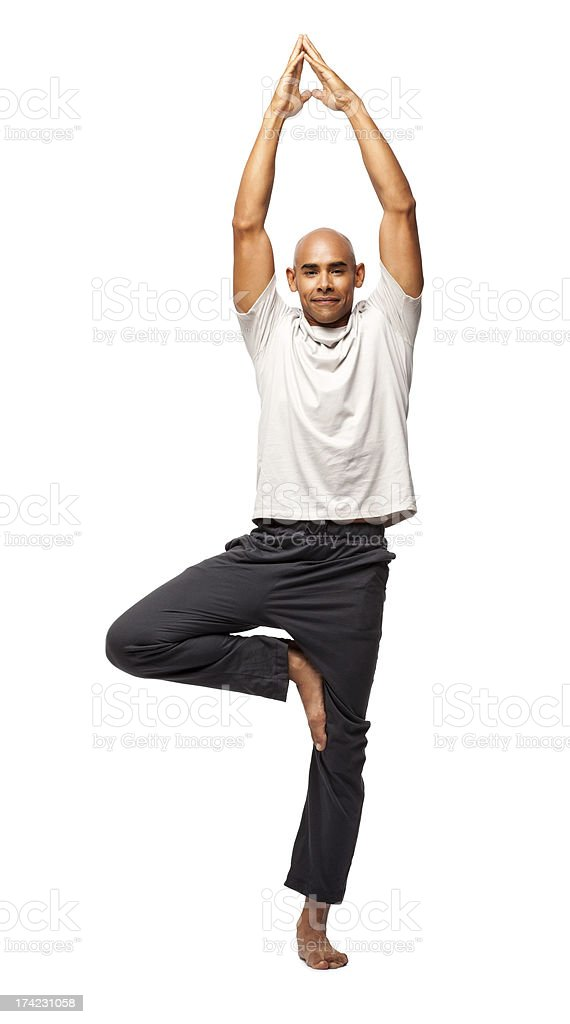 Fitness Man Practicing Yoga - Isolated royalty-free stock photo