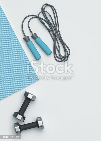 Fitness background. Fitness mat, dumbbells and jumping rope on the floor. 3D rendering