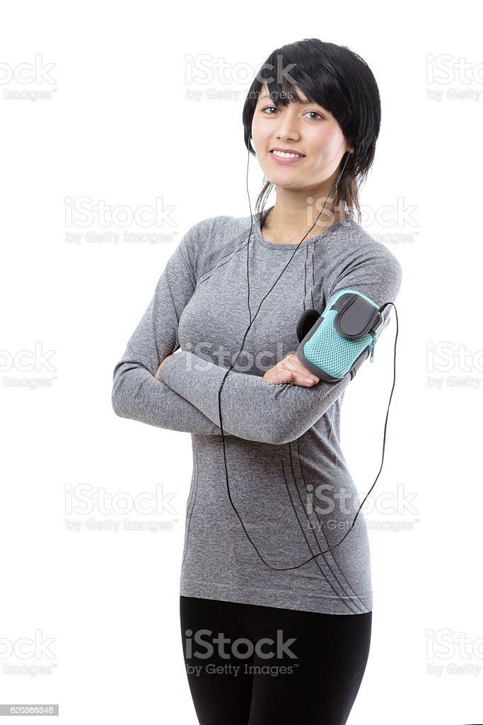 fitness model listening to music foto de stock royalty-free