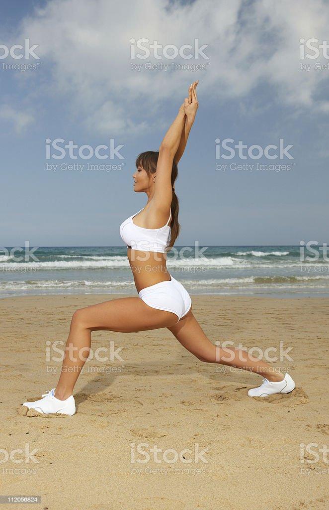 Fitness on beach royalty-free stock photo