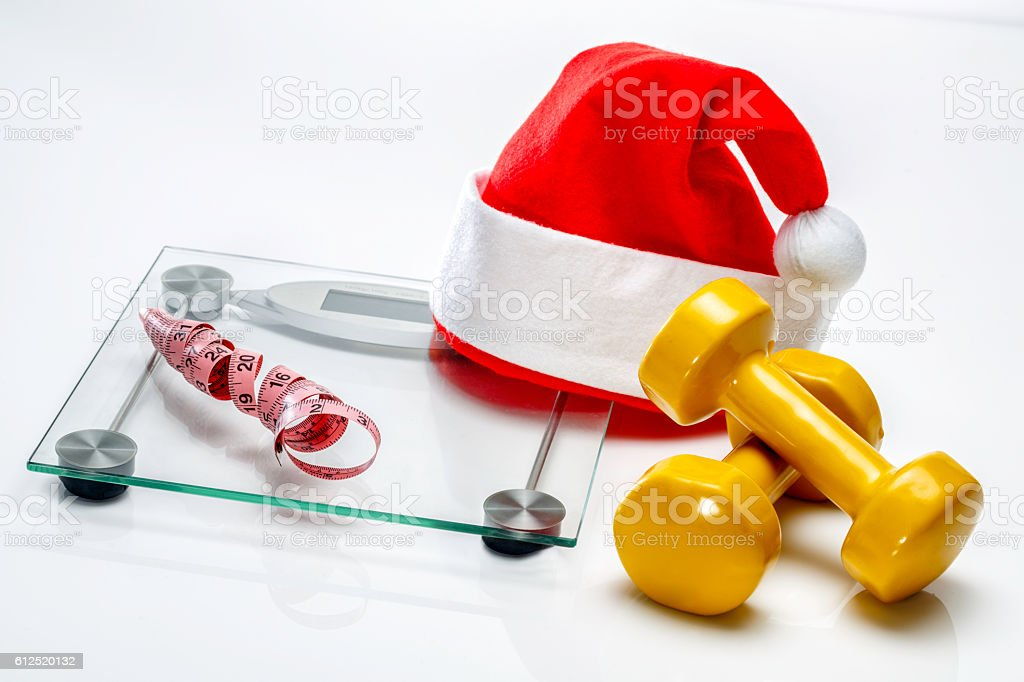 Fitness on Christmas stock photo
