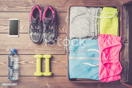 533343620 istock photo Fitness or sport equipment and clothes 686983460