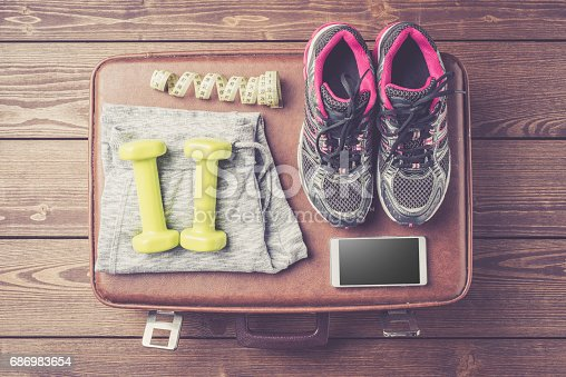 istock Fitness or sport equipment and clothes 686983654
