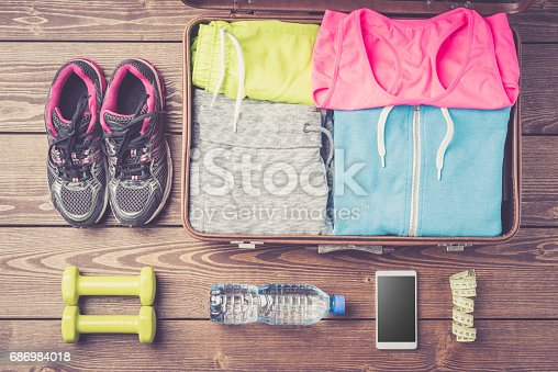 istock Fitness or sport equipment and clothes 686984018