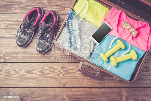 533343620 istock photo Fitness or sport equipment and clothes 686989760