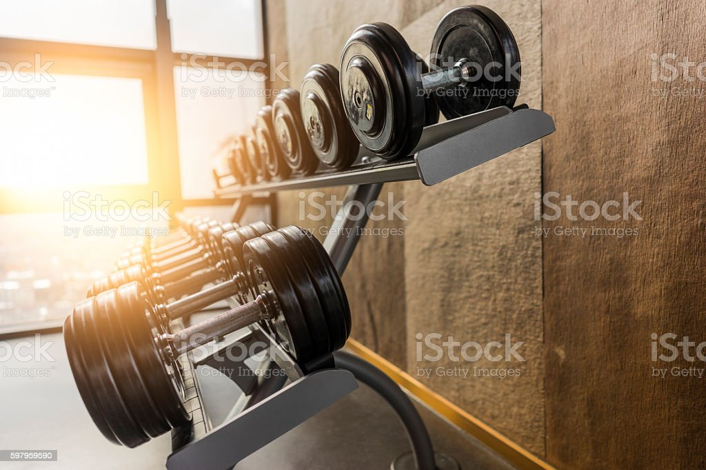 Fitness room in the morning stock photo