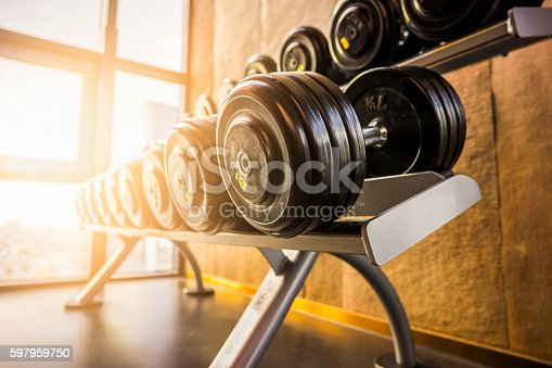 Raw of dumbbell in sport club at the morning
