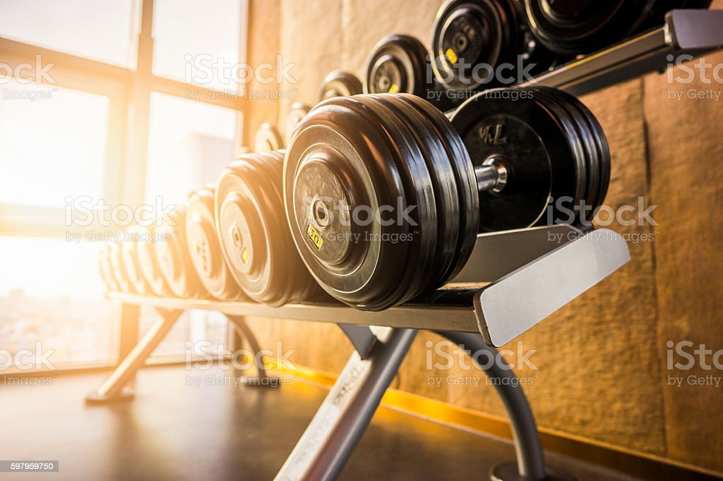 Fitness room in the morning - foto de stock