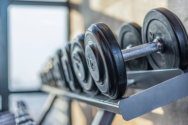 fitness room - weights stock photos and pictures
