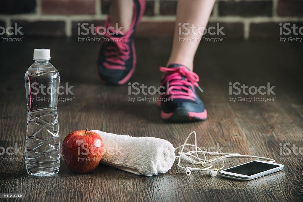 fitness running sports equipment, water phone music towel apple stock photo