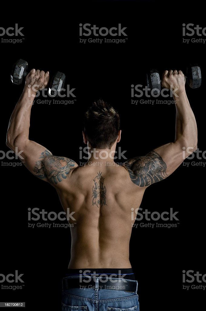 Fitness - Sexy Muscular Man Weight Lifting (XL) royalty-free stock photo