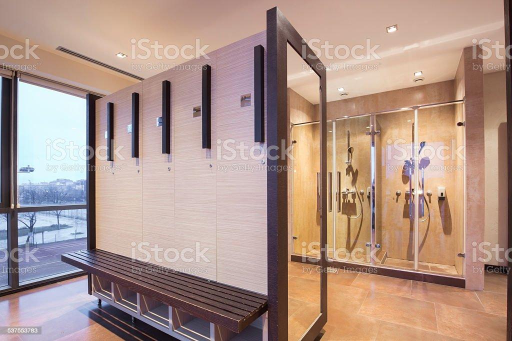 Fitness spa locker and shower room stock photo