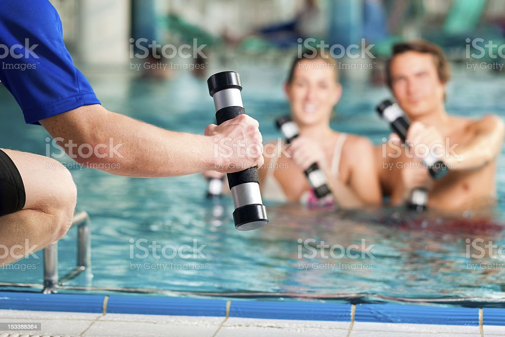 Fitness - sports under water in or spa stock photo