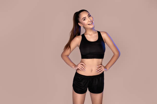 fitness sportig kvinna. hälsosam livsstil. - slank bildbanksfoton och bilder