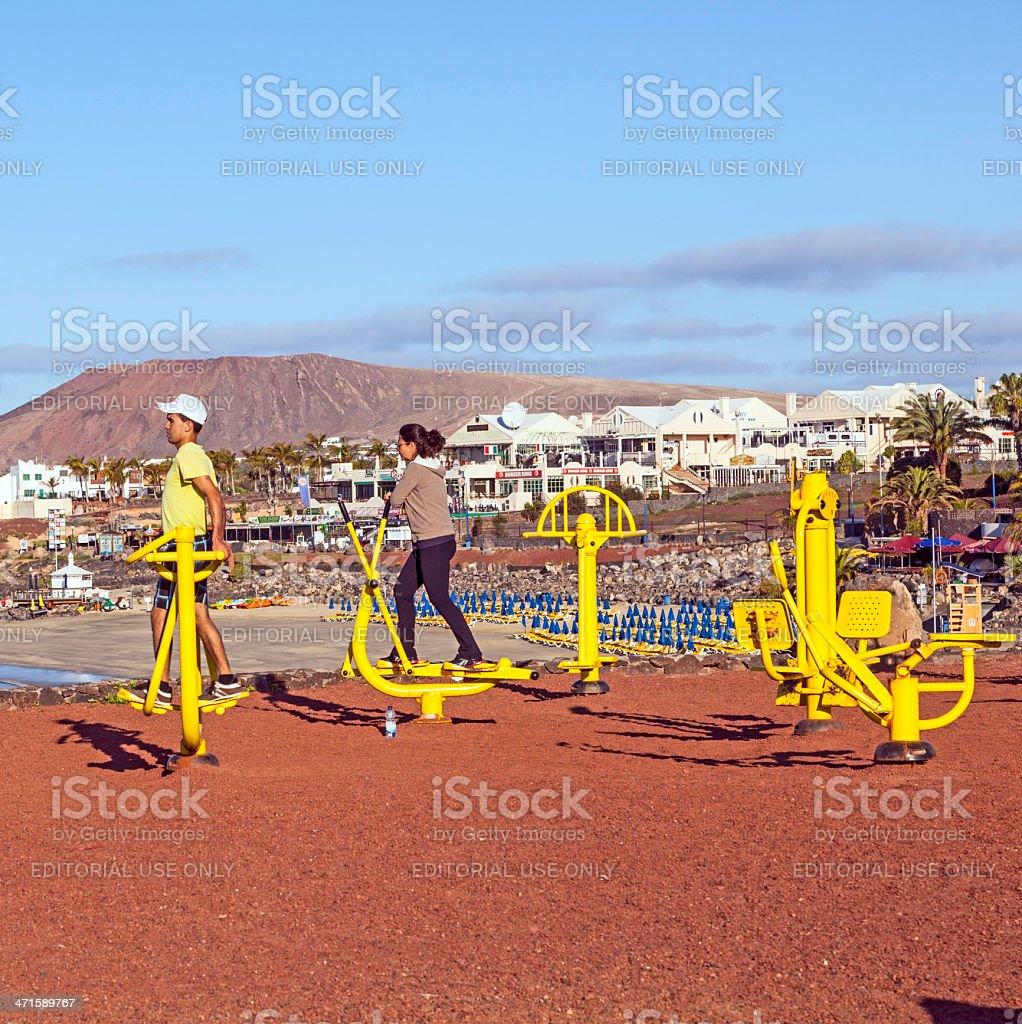fitness spot in Playa Blanca at the coast royalty-free stock photo