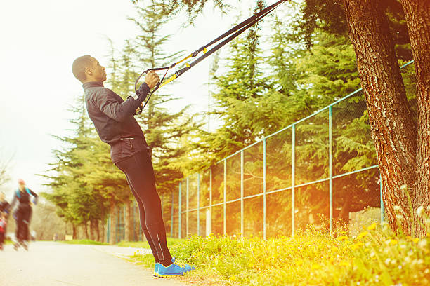 Fitness Strap Workout Outdoors stock photo
