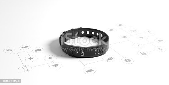istock Fitness tracker, smart watch, black, isolated on white background. 3d illustration 1080323506