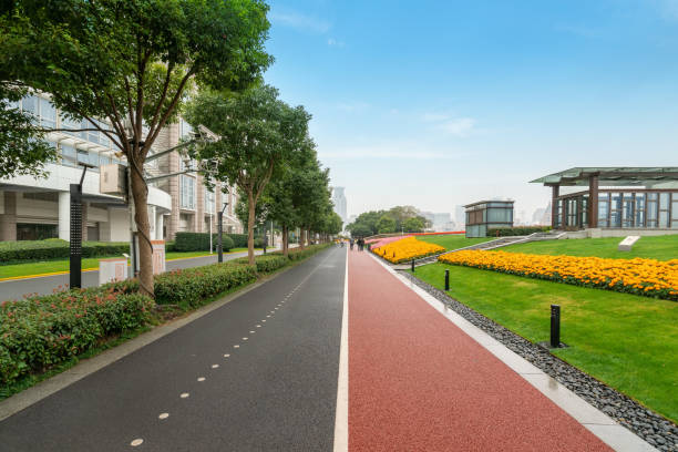 Fitness trail in the park at the Bund Plaza in Shanghai, China stock photo