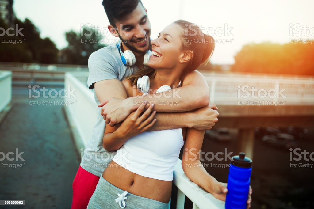 Fitness training for couple in love royalty-free stock photo