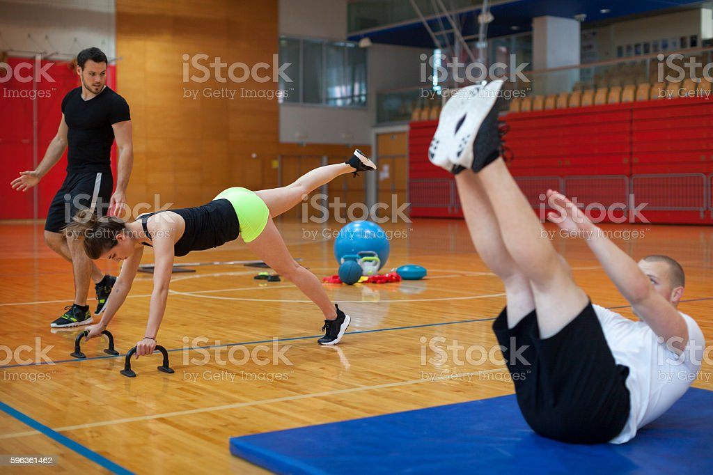 Fitness Training of a Group of Young Athletes royalty-free stock photo