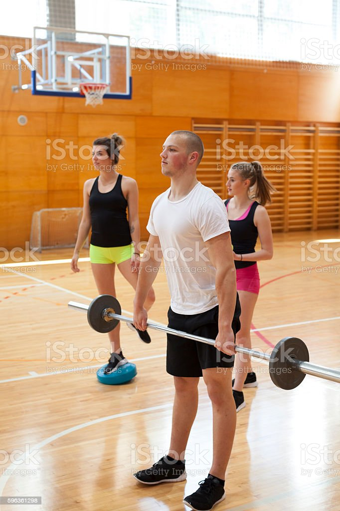 Fitness Training of Three Young Athletes royalty-free stock photo
