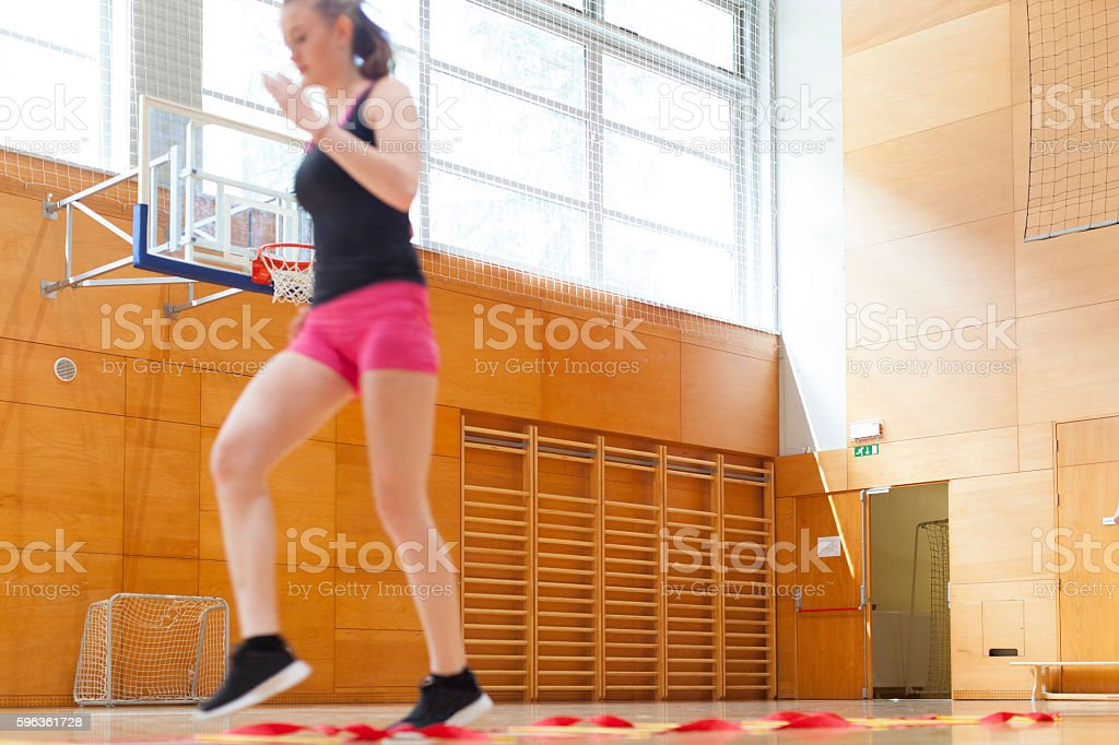 Fitness Training of Young Woman in Gym royalty-free stock photo