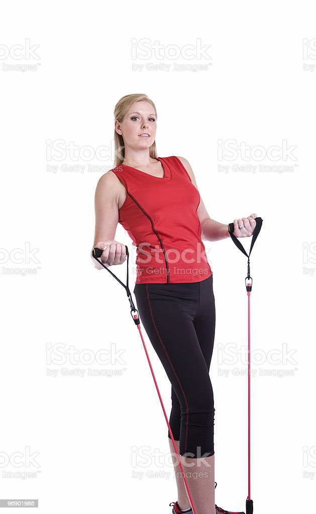 Fitness Using Bands royalty-free stock photo