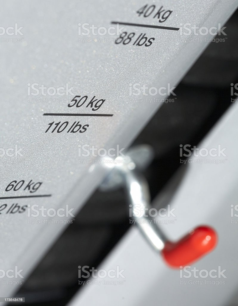Fitness - weight in kilogram and pound stock photo