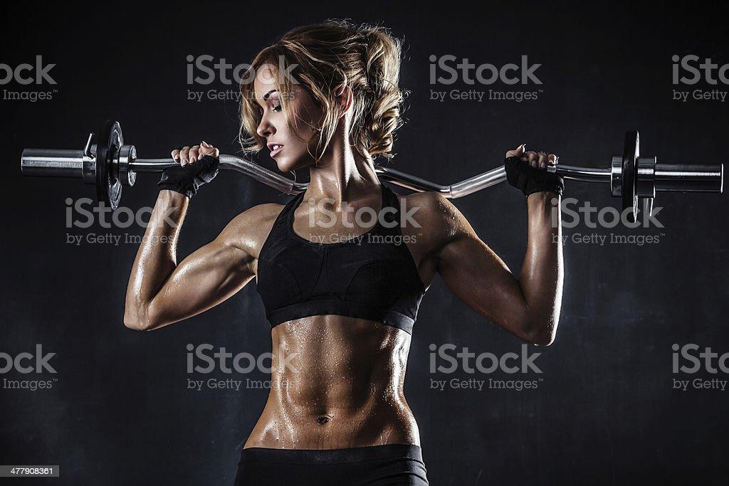 Gimnasio con barra para pesas - Foto de stock de Adulto libre de derechos