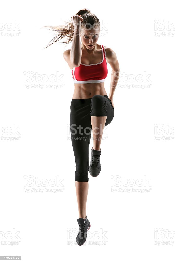 Fitness woman aerobics. Fresh energetic female fitness instructor stock photo