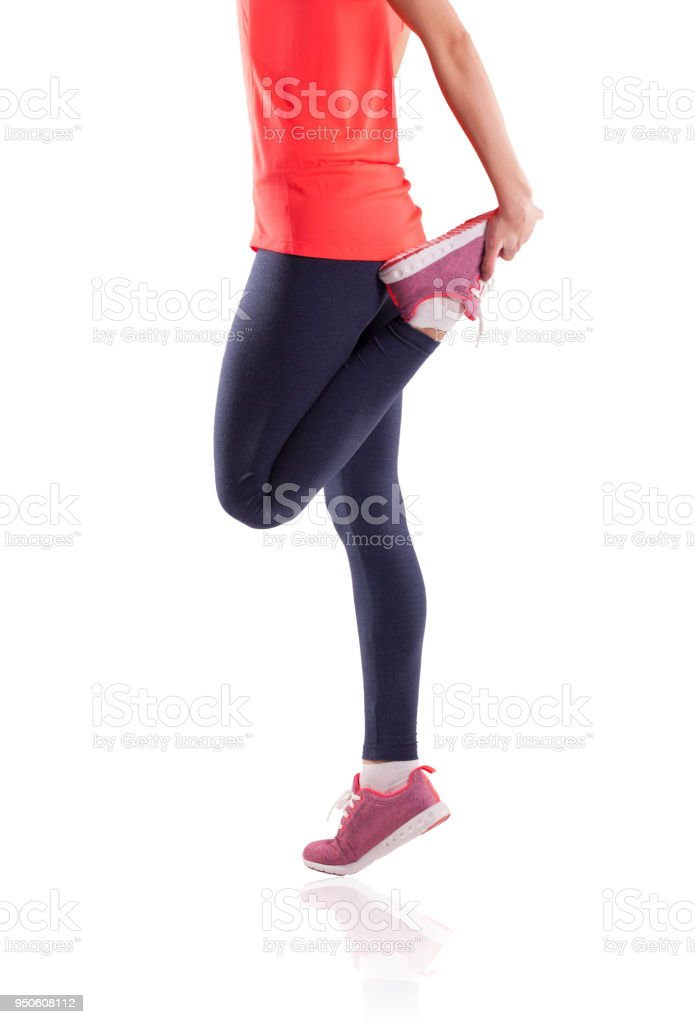 Fitness woman at stretching training at gym. stock photo