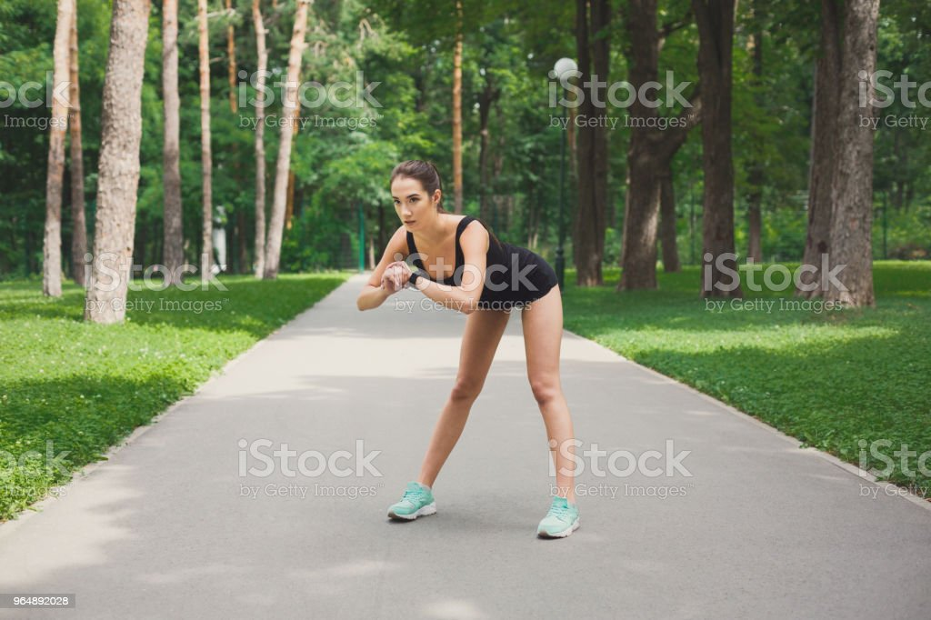 Fitness woman at stretching training outdoors royalty-free stock photo