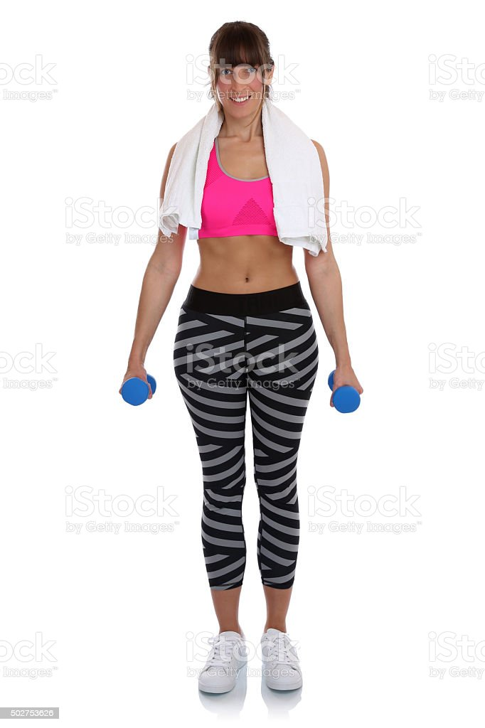 Fitness Woman At Workout Training With Dumbbells Full Body