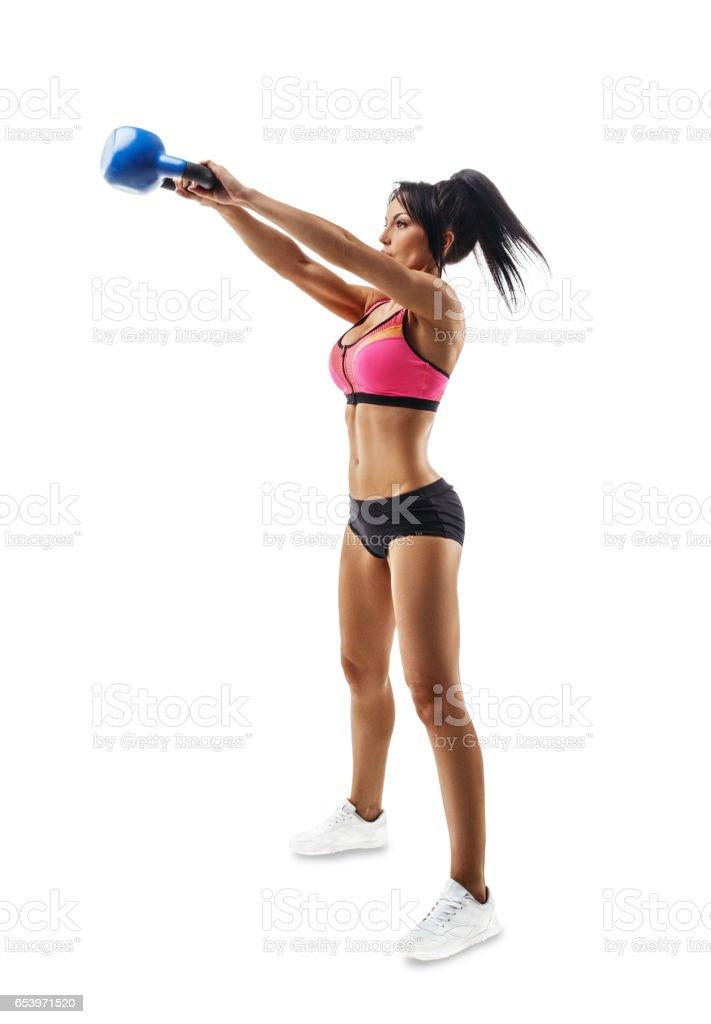 Fotografía de Hacer De Mujer Fitness Kettlebell Swing Y ...