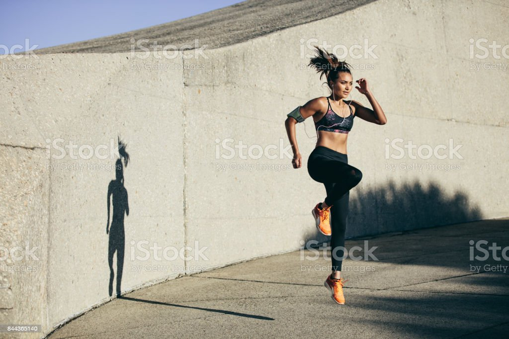 Fitness woman doing cardio interval training stock photo