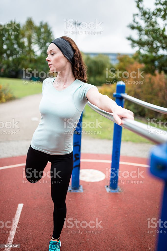 fitness woman doing exercise with rubber band
