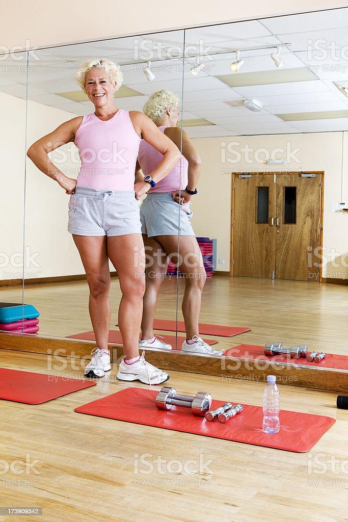 fitness: woman enjoying her workout stock photo