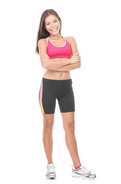 Fitness woman full length on white background stock photo