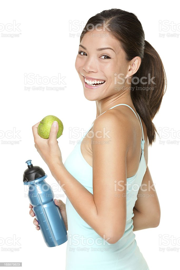 Fitness woman happy smiling stock photo