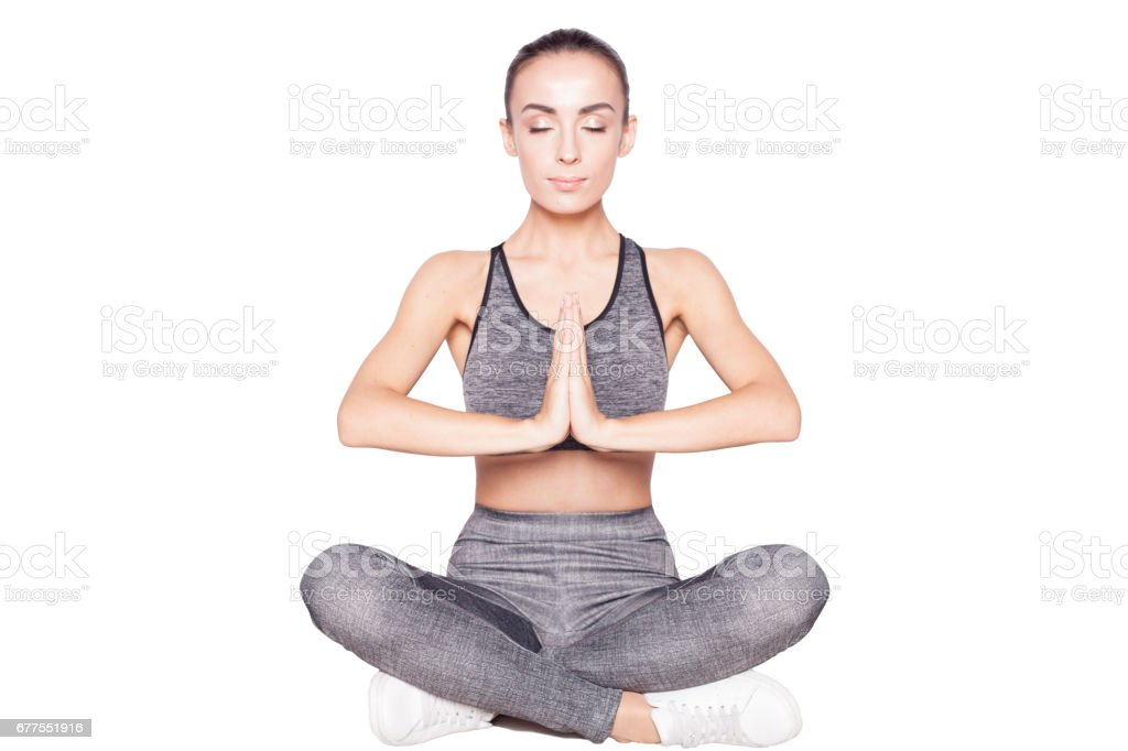 Fitness Woman in lotus position royalty-free stock photo