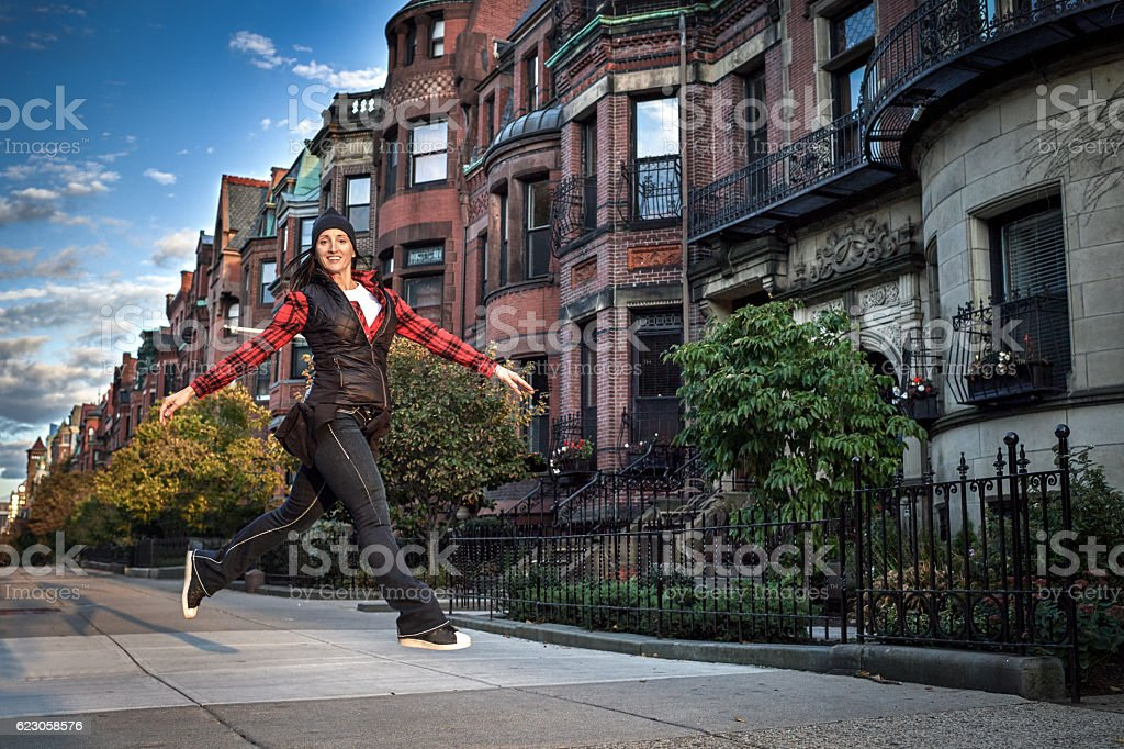Fitness woman in the city stock photo