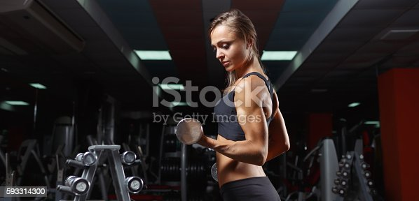 istock Fitness woman in the gym 593314300