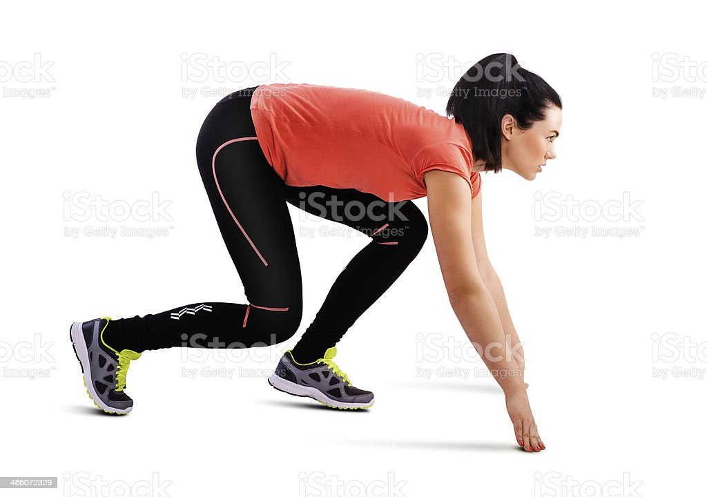 Fitness woman preparing to run isolated on white stock photo
