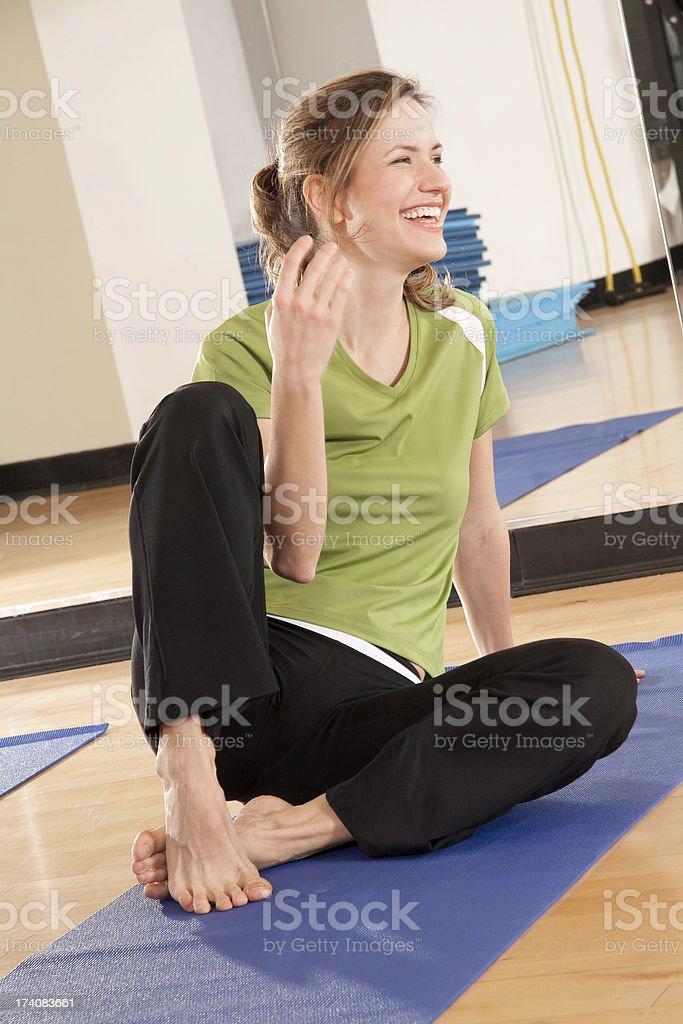 Fitness yoga Laugh stock photo